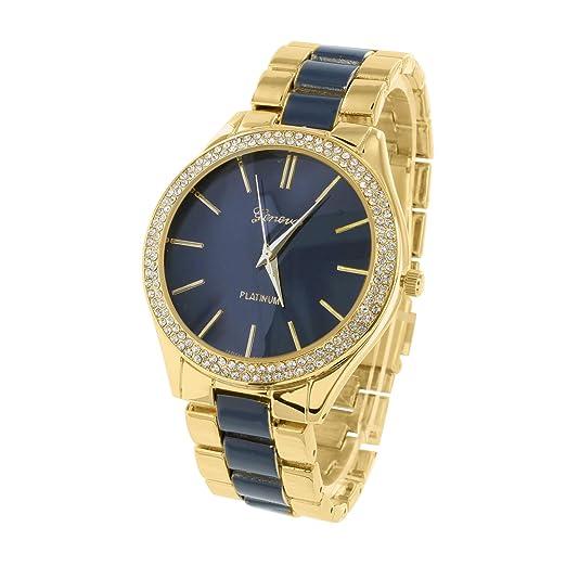Oscuro Esfera Azul Reloj - MK estilo ginebra Parker oro tono acetato analógica: Amazon.es: Relojes
