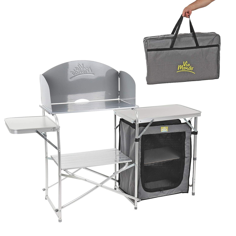 Via Mondo Camping Küche Maxi klappbar, in Transporttasche, Windschutz, 30 Kg belastbar
