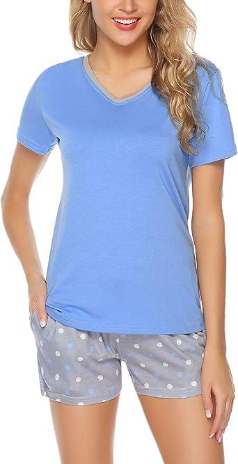 Aibrou Pijamas para Mujer Verano Corto Ropa de Domir de Algodon Manga Corta Camisetas sin Mangas y Pantalones Cortos Dos Piezas: Amazon.es: Ropa y accesorios
