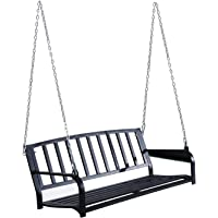 """Outsunny 50"""" Porch Swing Hanging Bench Outdoor Glider Chair with Chain Black"""