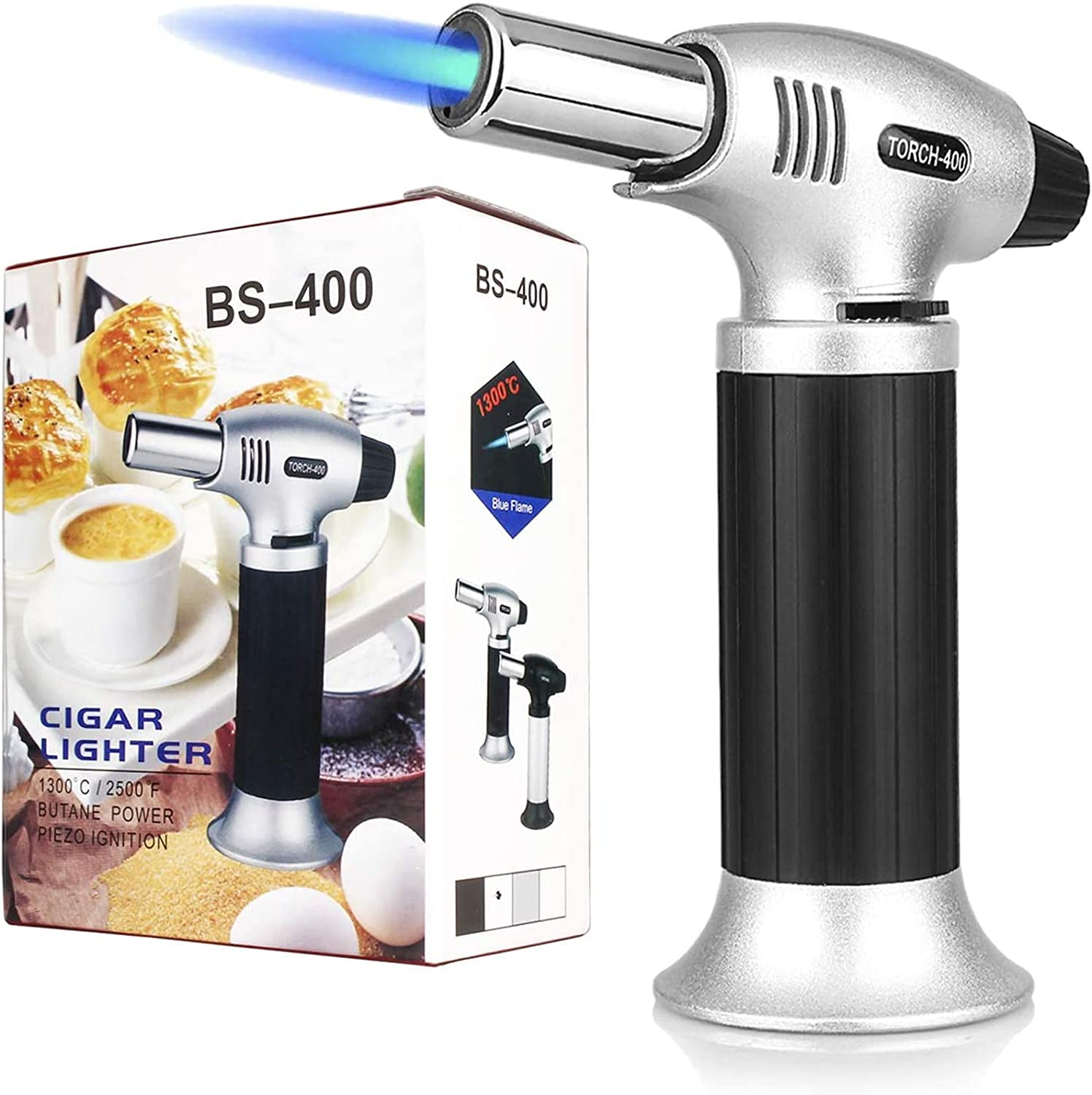RED Butane Gas Not Included Creme Brulee Refillable Culinary Butane Torch Lighter for Desserts Kitchen Butane Torch BBQ and Baking,Mini Blow Torch Lighter with Safety Lock and Adjustable Flame