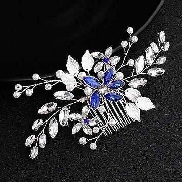 New Silver Tone Flower Wedding Bridal Rhinestone Hair Comb Headpiece Accessories