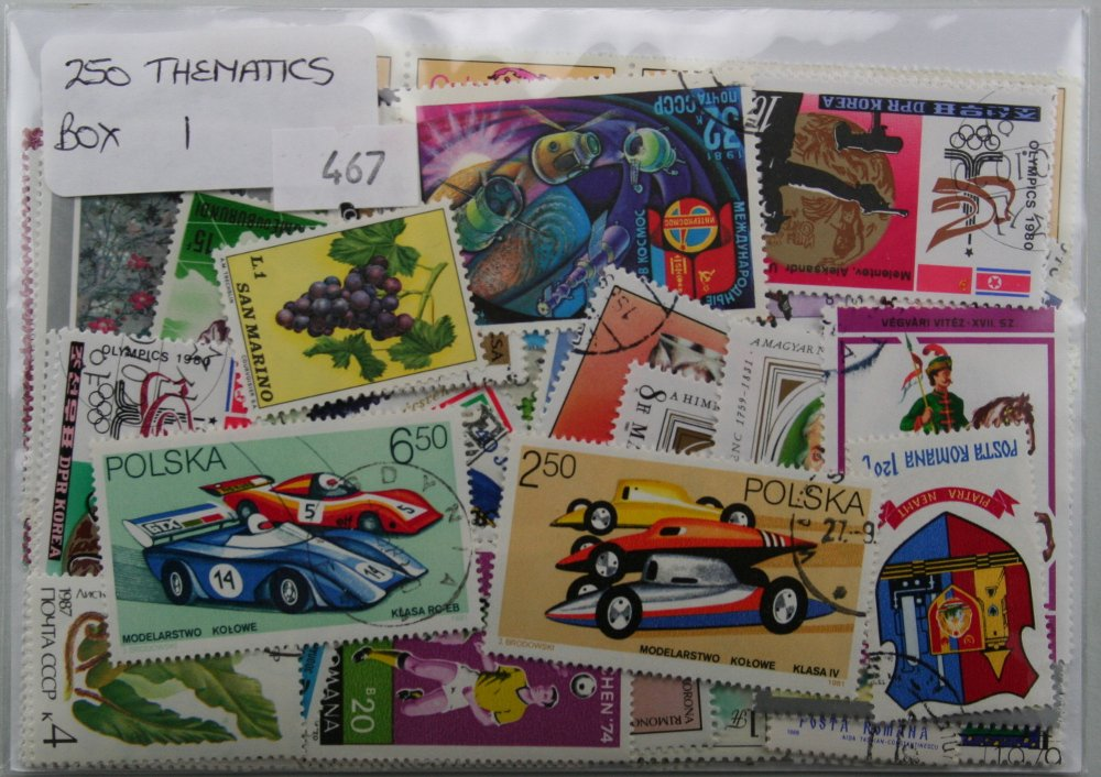250 Mixed Thematic stamps, all large and colourful. Pack 1 of 10 available. Dauwalders