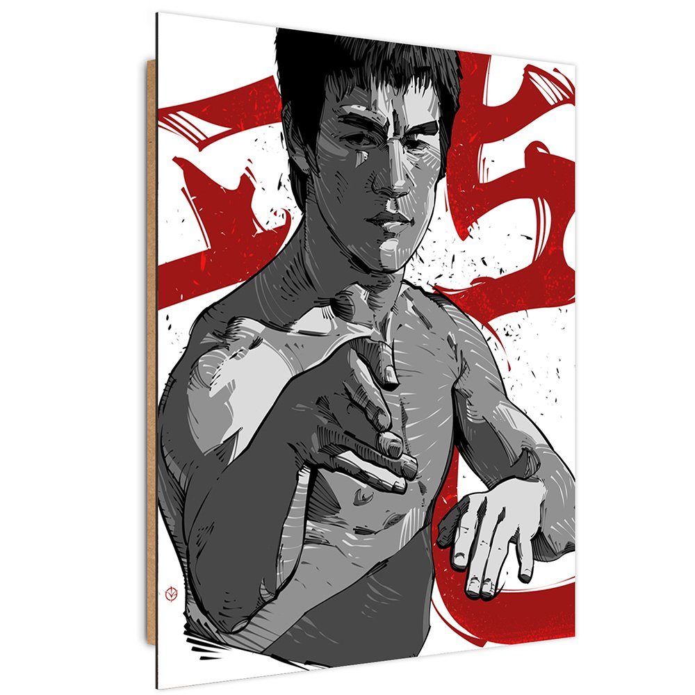 Feeby. Wandbilder - 1 Teilig- 70x100 cm - Bilder Kunstdrucke Deko Panel, Bruce Lee 5 - Nikita Abakumov, Filme, Grau, Boxer
