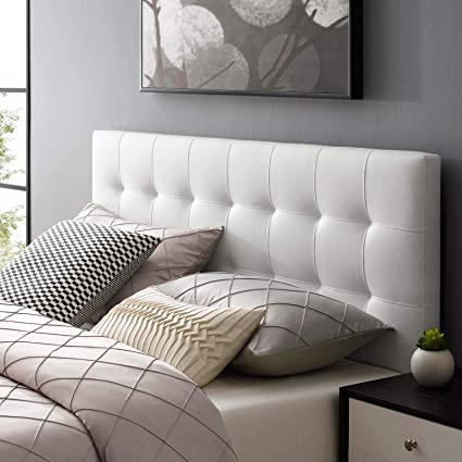 separation shoes f0b8a fbfb7 Modway Lily Tufted Faux Leather Upholstered Queen Headboard in White