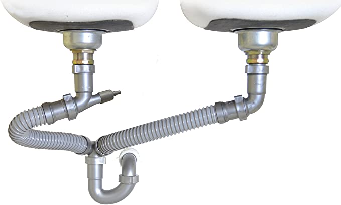 For Double Bowl Sinks 1-1//2 Continuous Waste Kit RecPro RV Kitchen Sink Drain Assembly