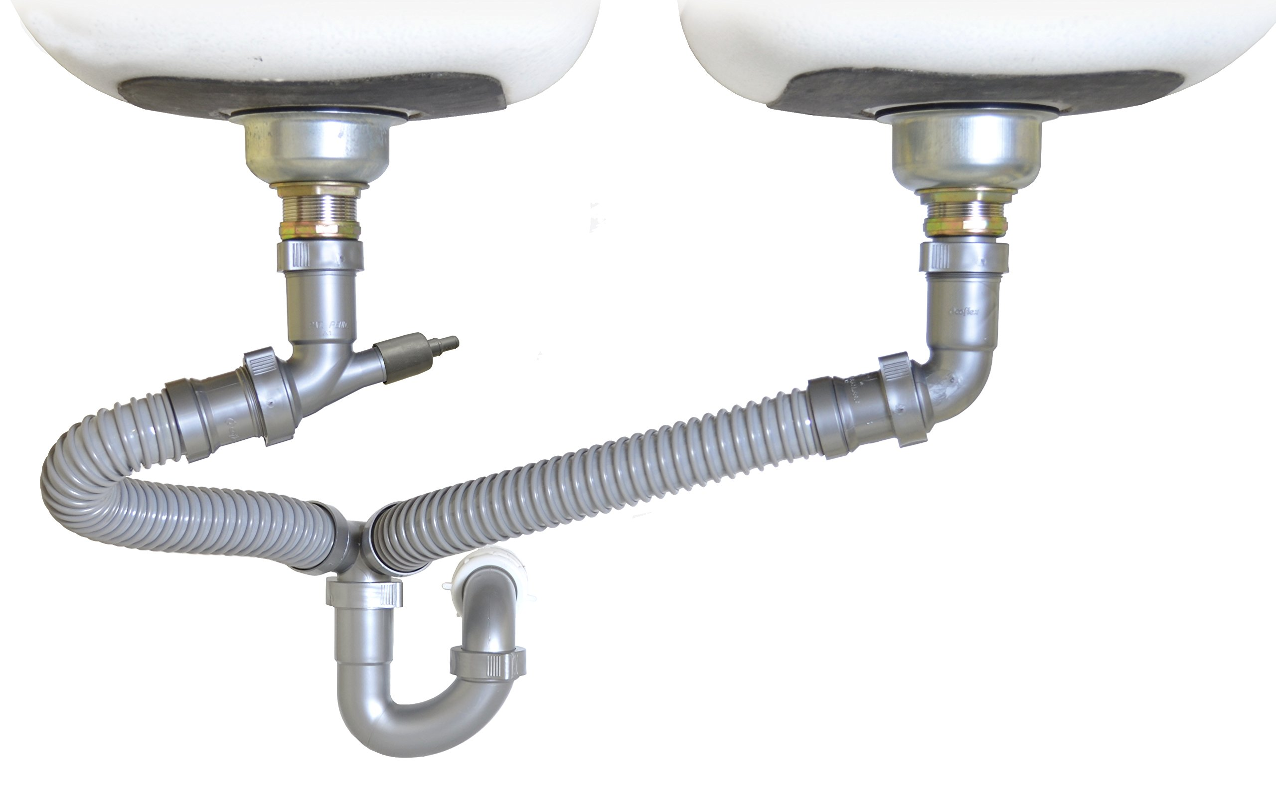 Snappy Trap 1 1/2'' All-In-One-Drain Kit for Double Bowl Kitchen Sinks by Coflex