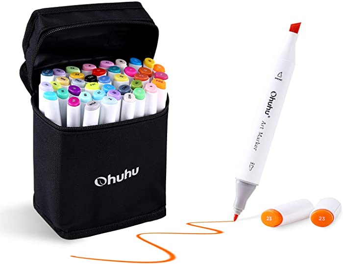 Ohuhu 40-color Alcohol Markers, Dual Tips Permanent Art Markers for Kids, Highlighter Pen Sketch Markers for Drawing Sketching Adult Coloring, Alcohol-based Markers, Comes w/ 1 Alcohol Marker Blender