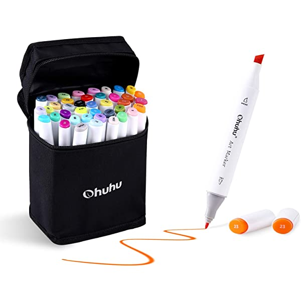 Ohuhu 40 Colors Dual Tips Permanent Marker Pens Art Markers for Kids Highlighte