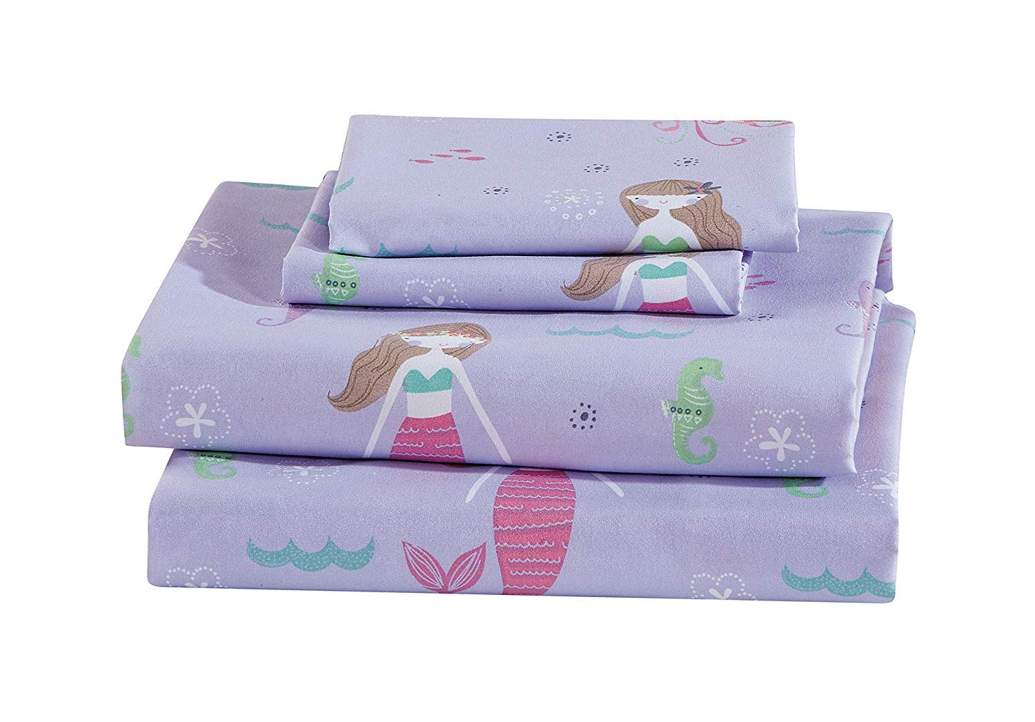 Luxury Home Collection Kids 4 Piece Full Sheet Set Mermaid Jelly Fish Seahorse Sea Purple Green Pink #Mermaid (Full Sheet)