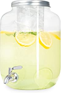 Outdoor Glass Beverage Dispenser with Stainless Steel Spigot & Ice Cylinder - 2 Gallon Drink Dispenser for Tea, Lemonade, Cold Water & More