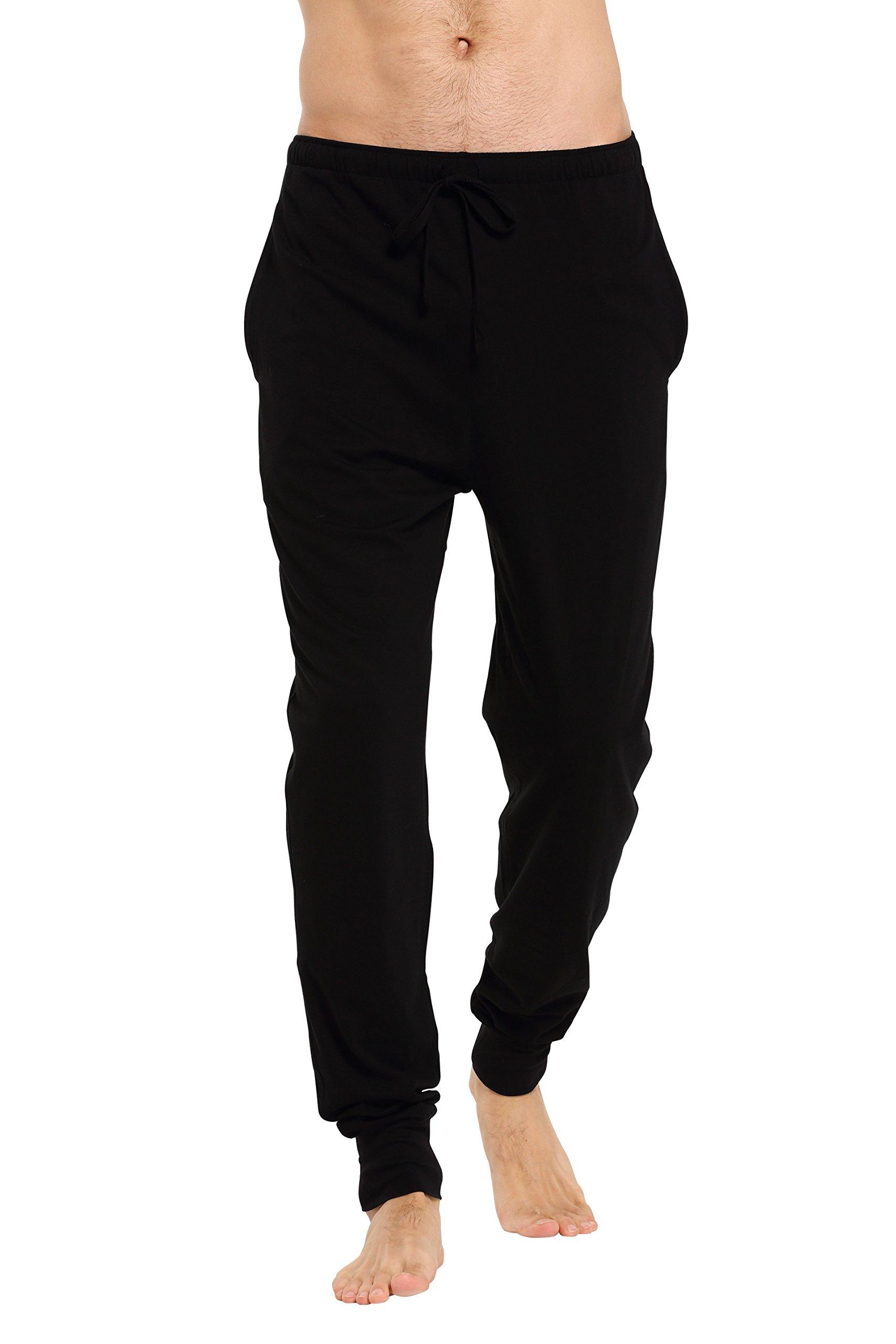 CYZ Men's Cotton Knit Lounge Pants with Drawstring-Black-L