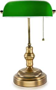 Traditional Bankers Lamp, Brass Base, Handmade Emerald Green Glass Shade,Vintage Office Table Light, Antique Style Desk Lamps for Office, Library, Study Room (Brass)(No Bulbs Included)