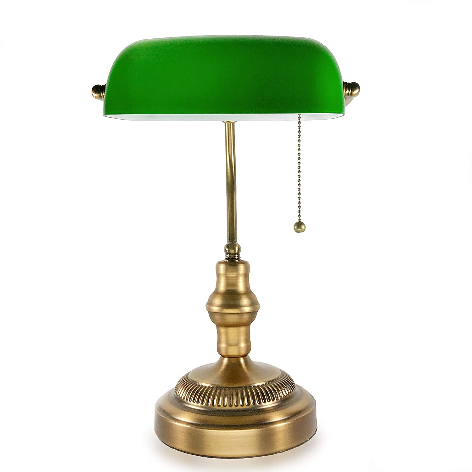 info for 00c8a a9722 Details about Traditional Bankers Lamp, Brass Base, Handmade Emerald Green  Glass Shade,Vintage