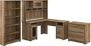 Bush Furniture Cabot L Desk with Hutch, Lateral File and 5 Shelf Bookcase, Reclaimed Pine