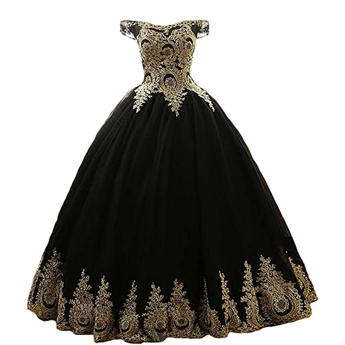 Yuxin Gold Appliques Off The Shoulder Black Ball Gown Lace ...