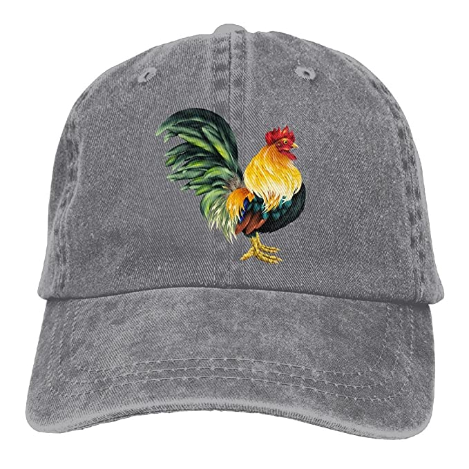 ROOSTER CHICKEN FARM COCK FIGHT BASEBALL CAP HAT RED