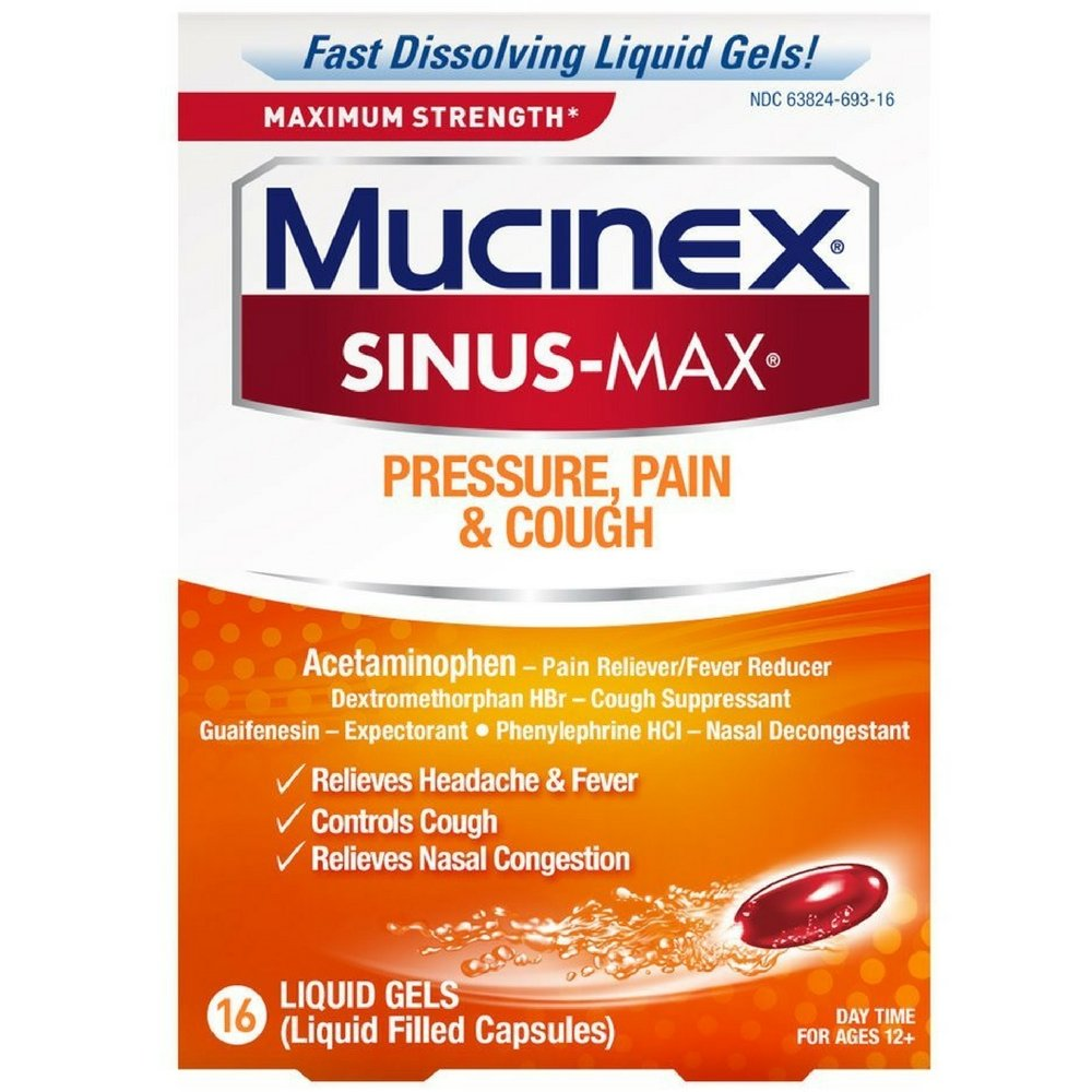 Mucinex Sinus-Max Max Strength Pressure, Pain & Cough Liquid Gels 16 ea (Pack of 5) by Mucinex