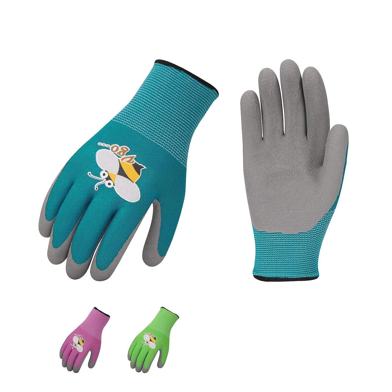 Vgo 3-Pares de Guantes de Jardinería con Revestimiento de Látex de Espuma Natural para Niños para Trabajo Ligeros, Actividad al Aire Libre (XS - Edad 3-5, Verde, Azul y Rosa, KID-RB6013)