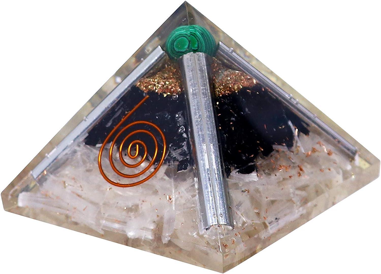 Crocon Selenite & Black Tourmaline Orgone Pyramid with Green Malachite Ball for Energy Generator Feng Shui Chakra Stone Balancing Reiki Crystal Healing EMF Protection Spiritual Decor Size: 2.5-3 Inch