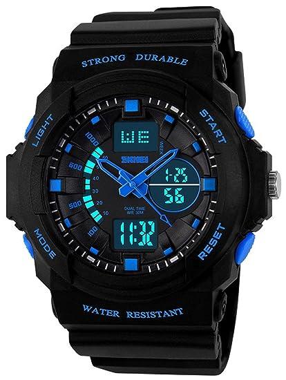 Fanmis Multi Función militar deportes relojes Led analógico Digital impermeable alarma reloj de pulsera azul: Amazon.es: Relojes