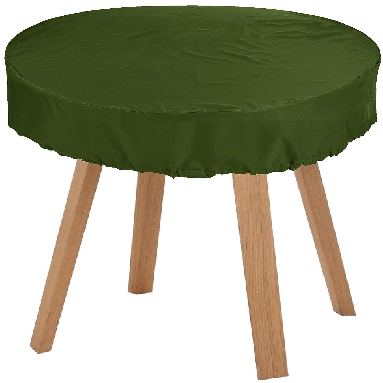 KaufPirat Premium Abdeckplane Rund Ø 115x15 cm Olivgrün Gartenmöbel Gartentisch Abdeckung Schutzhülle Abdeckhaube Outdoor Round Patio Table Cover