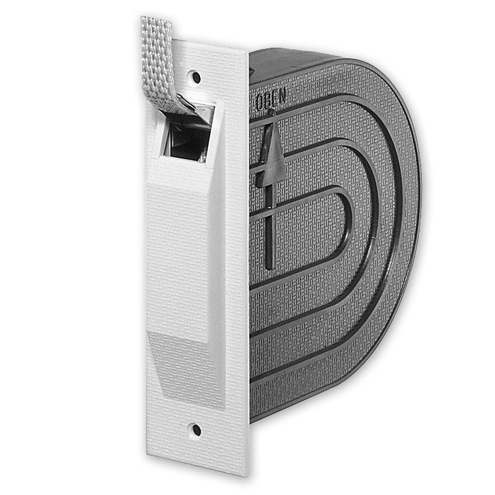 Mini-Einlass-Gurtwickler 'Nano', mit Mauerkasten, inkl. 5 m Gurt, Gurtbreite: 15 mm, Gurtfarbe: grau, Farbe Deckplatte: weiß , Lochabstand: 118 mm, Abmessungen: 142 x 112 x 42 mm, von EVEROXX