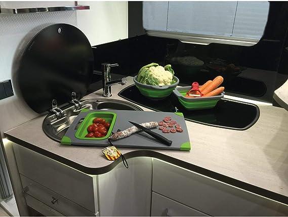 Tabla de cortar con escurridor cocina camping y autocaravana ...