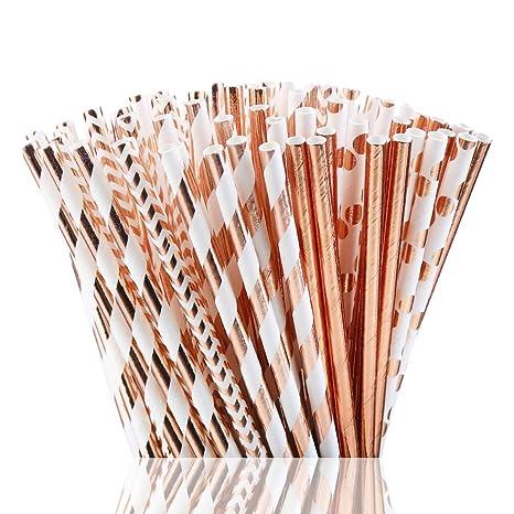 Party Wedding Birthday ~ UK Metallic Rose Gold Stripy Paper Drinking Straws