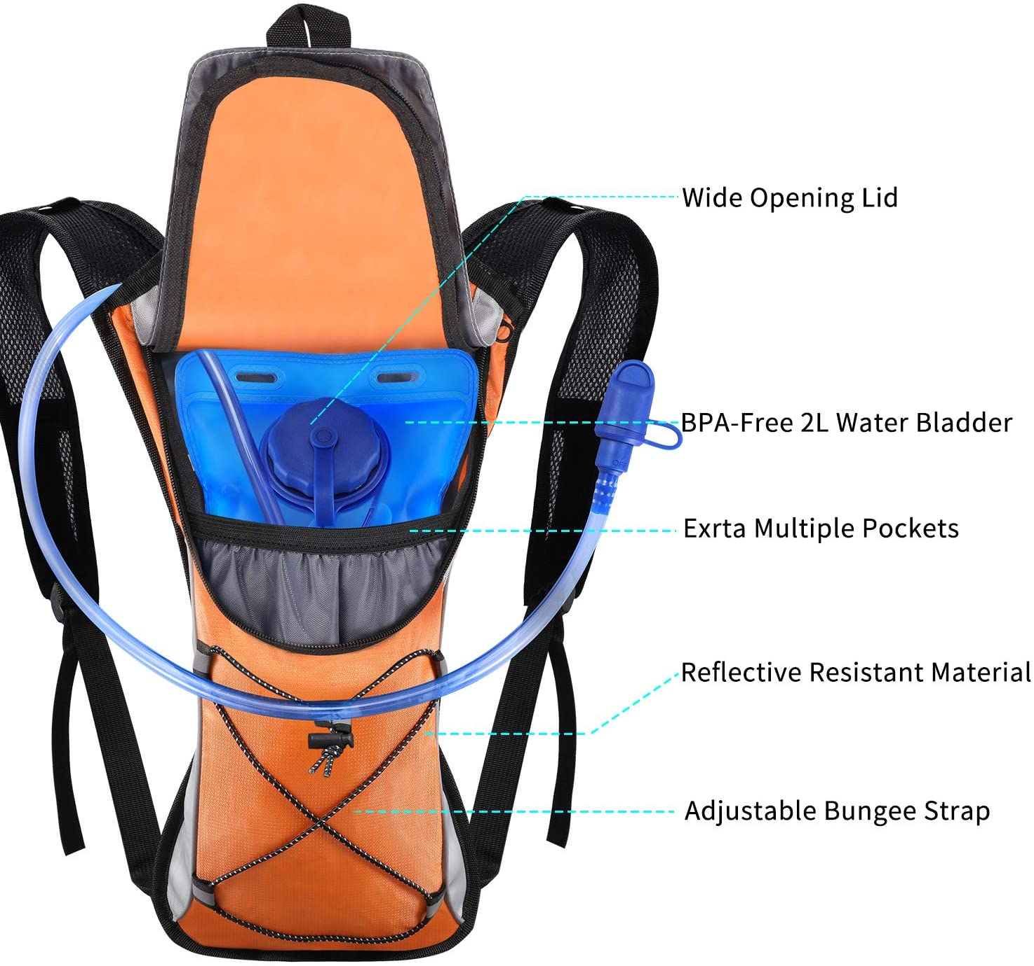 Reisen Hydration Rucksack Ultralight Laufrucksack mit Trinksystem f/ür Camping Wandern KUYOU Trinkrucksack mit 2L Trinkblase Laufen