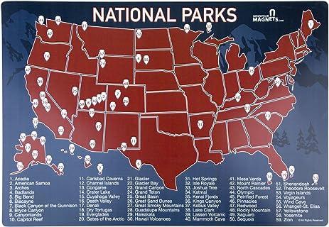 Amazoncom US National Parks Map Fridge Magnet Travel Map of