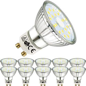 EACLL Bombillas LED GU10 6000K Blanco frio 5W 450 Lúmenes Equivalente 50W Halógena Lámpara. 120 ° Luz Diurna Blanca Fría Spotlight, 10 Pack: Amazon.es: Iluminación