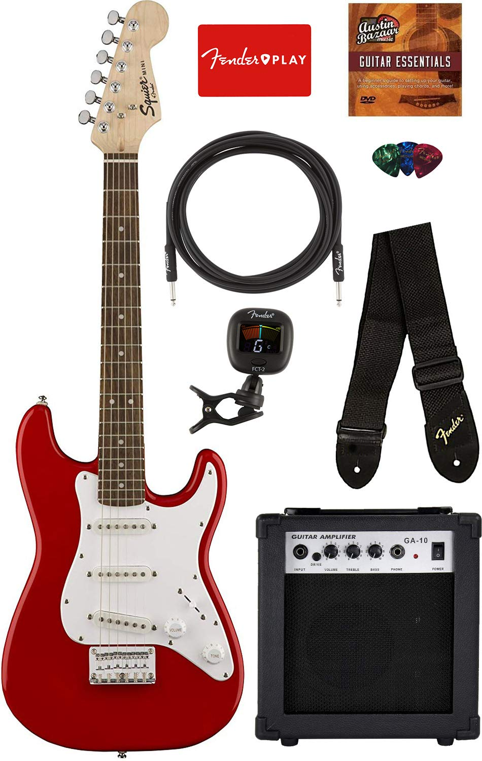 Squier by Fender Mini Strat Electric Guitar - Torino Red Bundle with Amplifier, Instrument Cable, Tuner, Strap, Picks, Fender Play Online Lessons, and Austin Bazaar Instructional DVD by Austin Bazaar