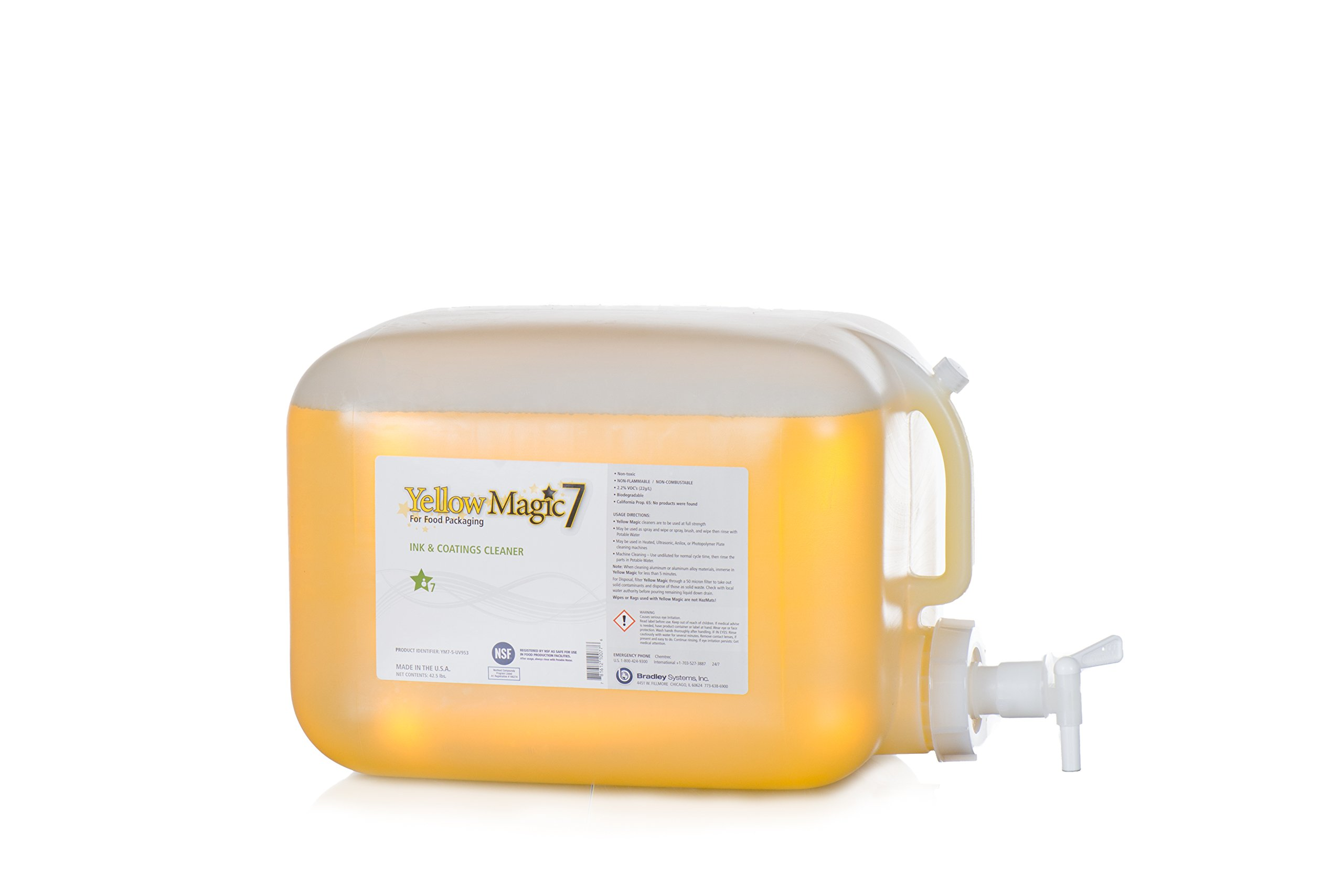 Yellow Magic 7: Five Gallon, Full Strength, Undiluted, Flexo UV Ink and Varnish Cleaner for Printing Human and Pet Food Packaging, Just Spray and Wipe by Bradley Systems