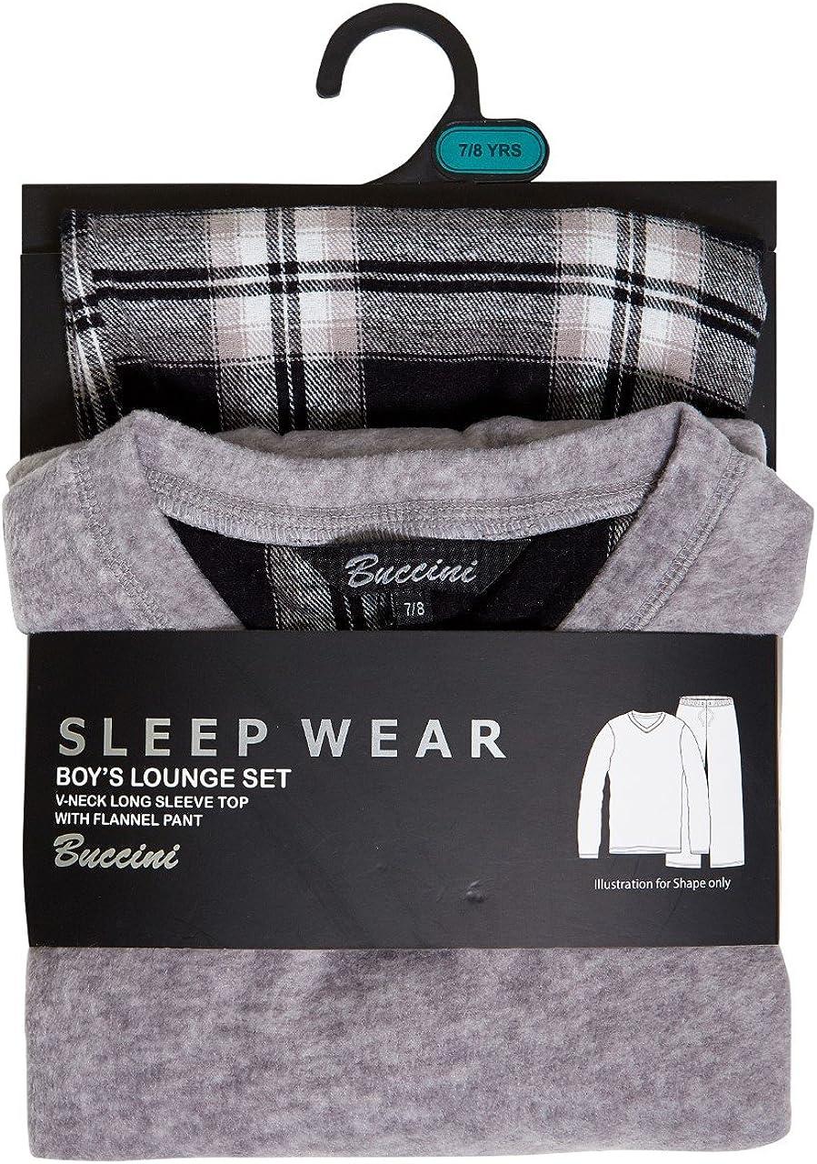 Metzuyan Boys Anti-Pill Microfleece Check Lounge and Cotton Winter Pyjama Set