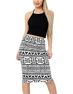 GUBA Ladies Printed Stretchy Pencil Bodycon Wiggle Midi Skirt