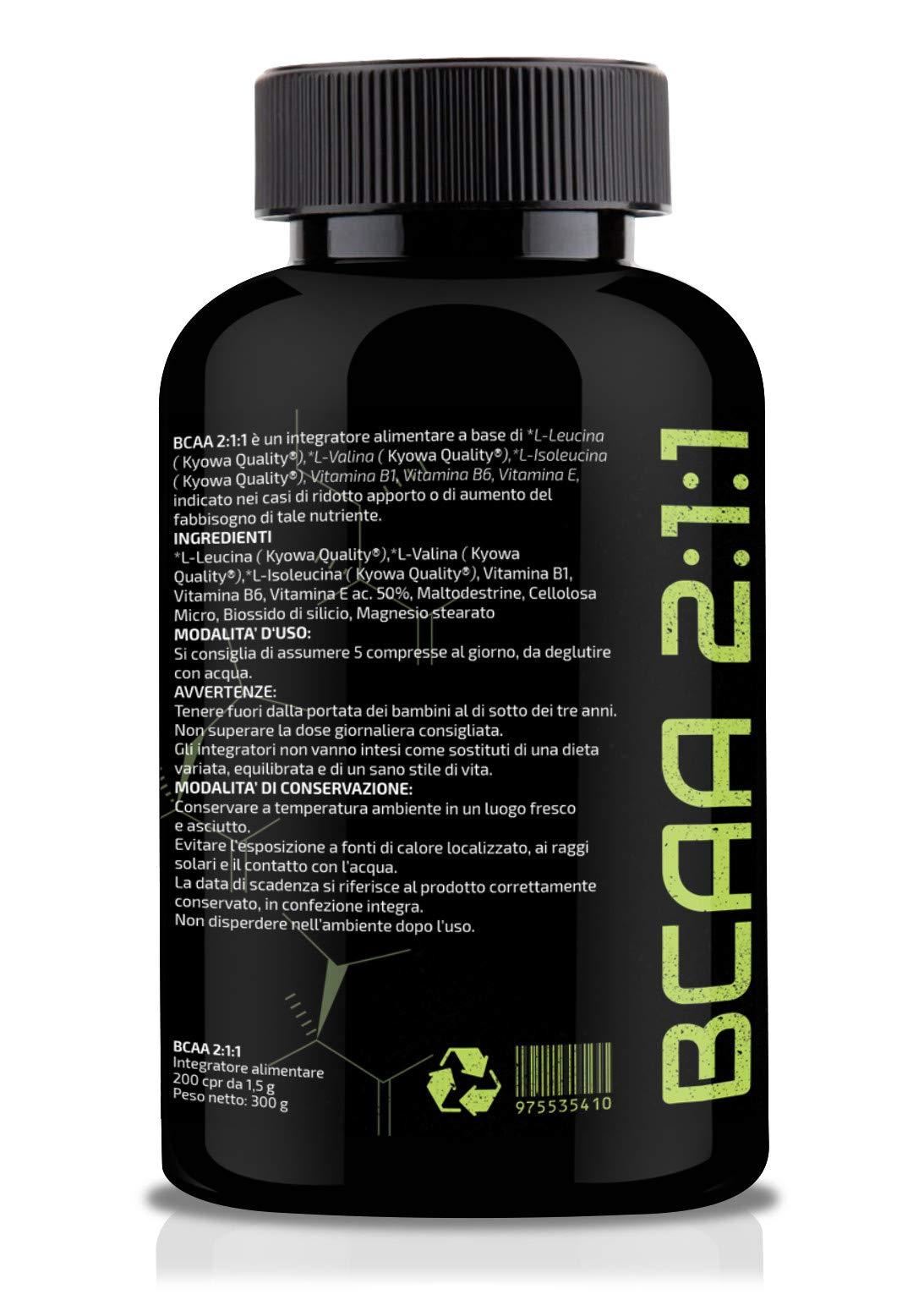 BCAA 2:1:1 ottenuti da fermentazione. Con vitamine B1-B6-E Confezione da 120 Compresse T-Rex Integratori