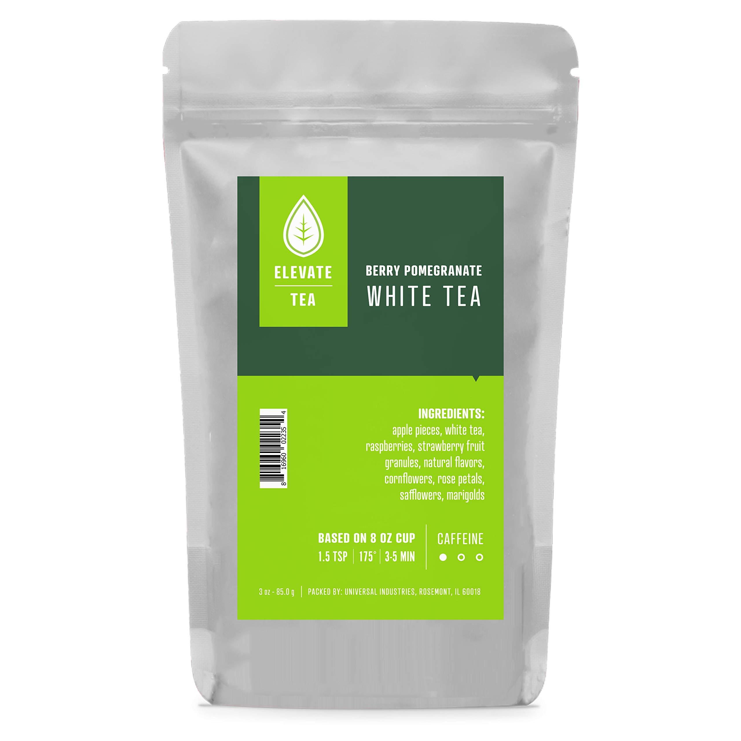 Elevate Tea BERRY POMEGRANATE WHITE TEA, Loose Leaf Tea Blend, 30 servings, 3 Ounce Pouch, Caffeine Level: Medium, Single Unit