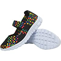 L-RUN Women's Water Shoes Walking Shoes Woven Light Weight Loafer Flats Slip On Casual Sports Shoes