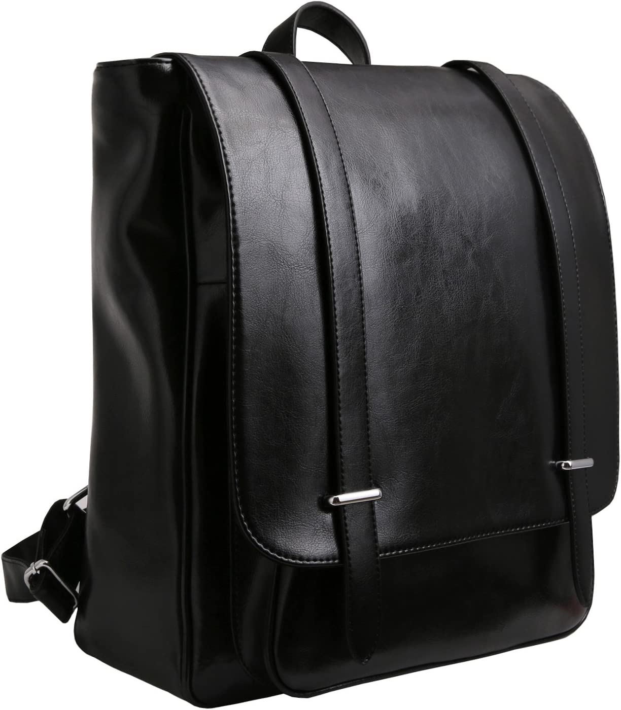 Iswee Unisex Leather Backpack Casual Daypack for Women and Men Fit 14in Laptop Black
