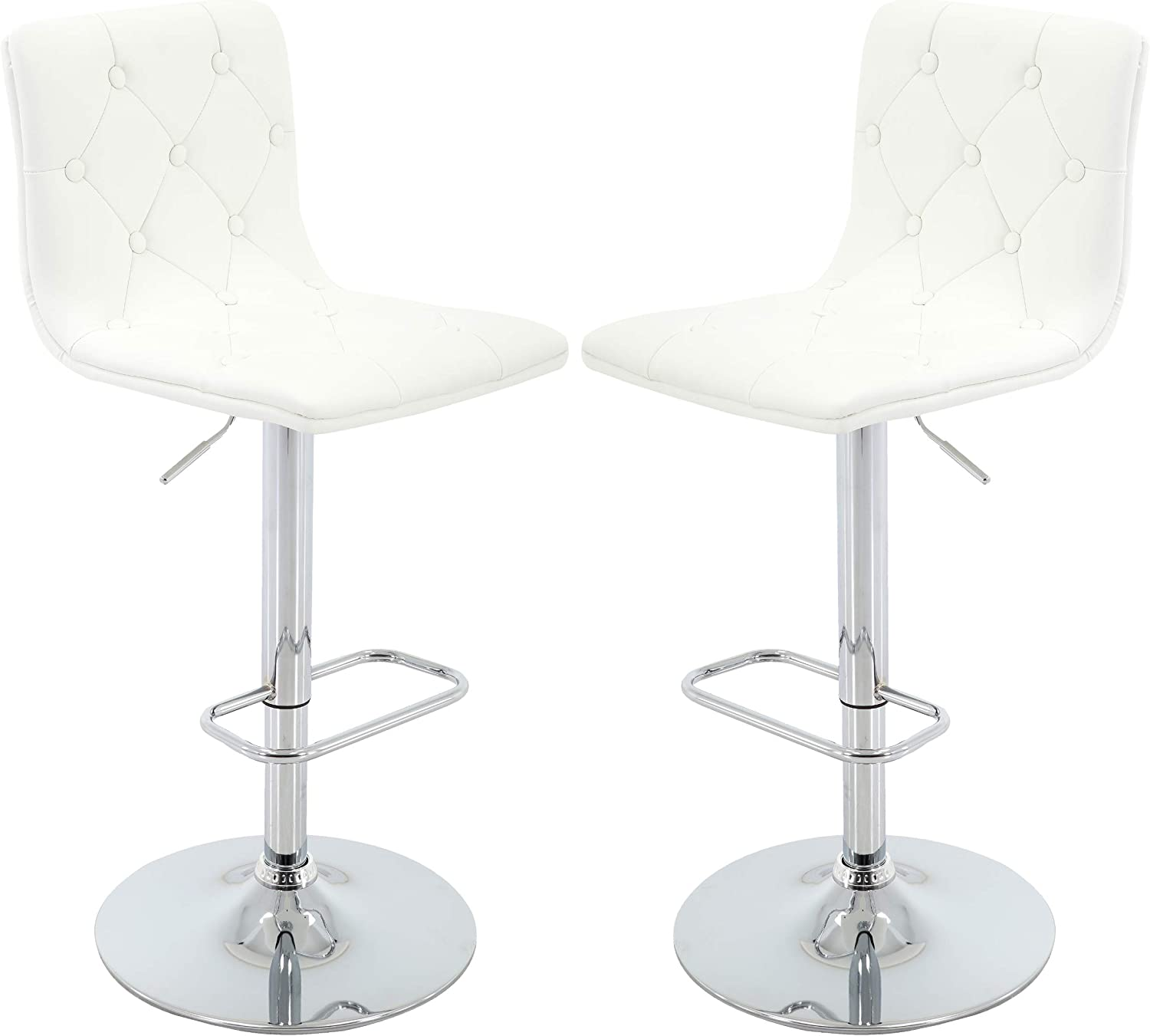 Brage Living Tufted PU Leather Adjustable Height Barstool with Chrome Base and Footrest Set of 2 White