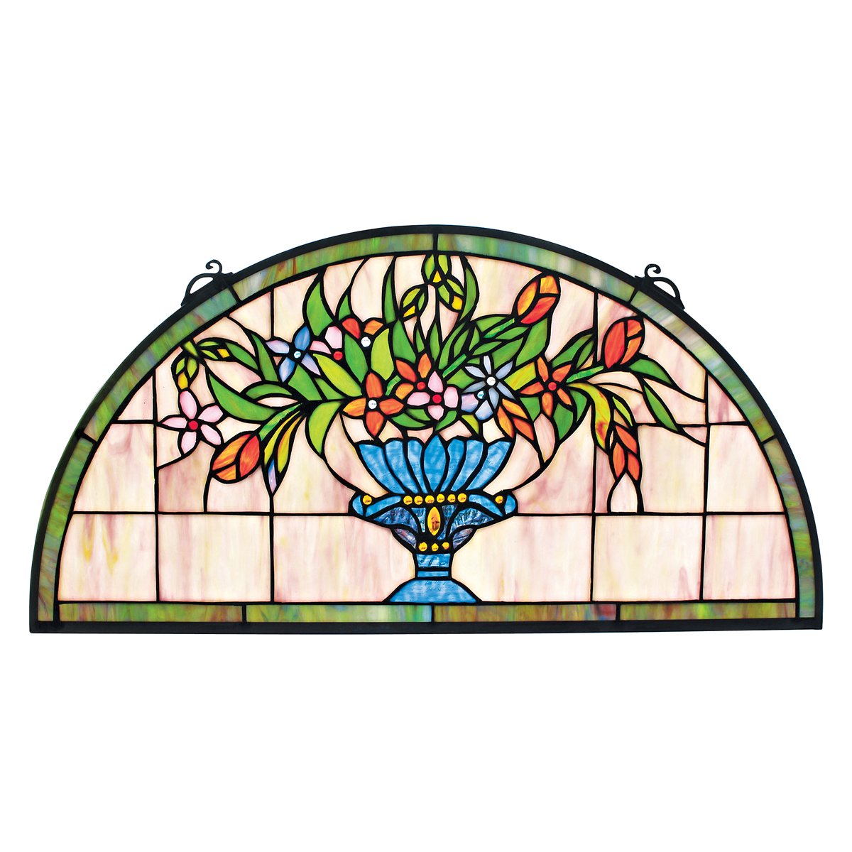 Amethyst Moon 32 Inch Design Toscano Lady Astor Demi-Lune Stained Glass Window Hanging Panel