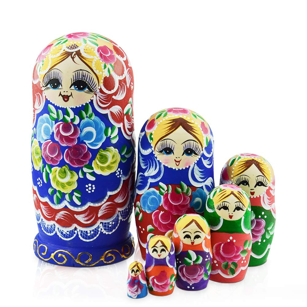 IUMÉ Nesting Dolls,Russian Matryoshka Wood Stacking Nested Semenov Wooden Handmade Toys The Best Gift for Children Kids Christmas Mother's Day Birthday Home Room Decorat Halloween Wishing Gift 7 PCS