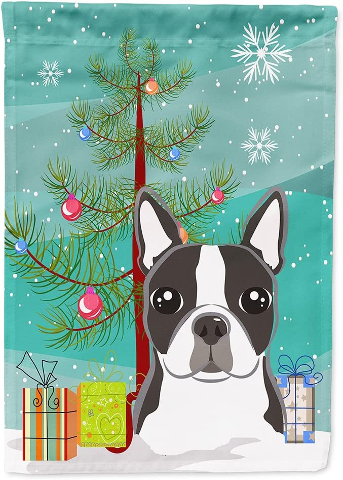 Caroline's Treasures BB1575CHF Christmas Tree and Boston Terrier Flag Canvas House Size, Large, Multicolor