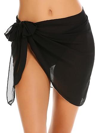 4e0a18993d Aimage Womens Summer Beach Chiffon Swimsuit Swimwear Short Skirt Mesh Cover  up Sarong Black Small