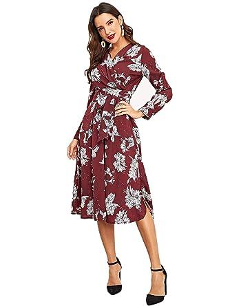 2990c3712f148 DIDK Femme Robe mi Longue Floral Manches Longues Robe midi Col V avec  Ceinture Vacances Bordeaux S: Amazon.fr: Vêtements et accessoires