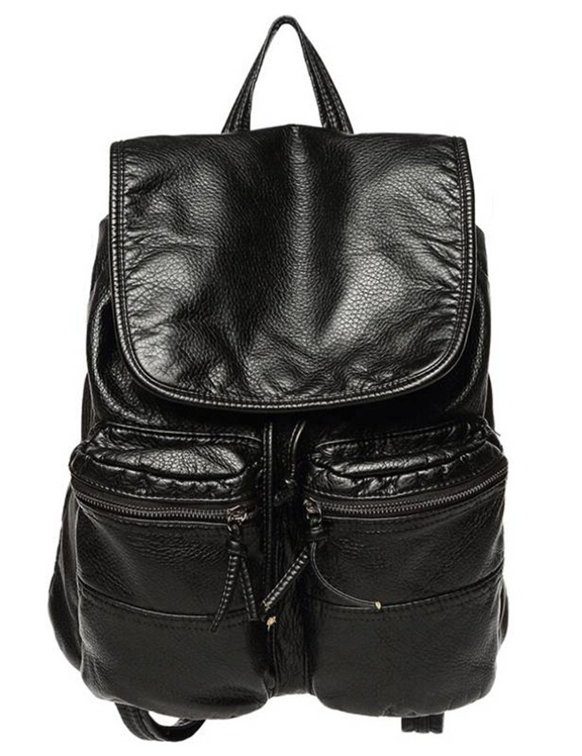 Leather Shoulder Handbag for Women, New Fashion Leisure Folding Bag Soft Black Backpack by WoWen