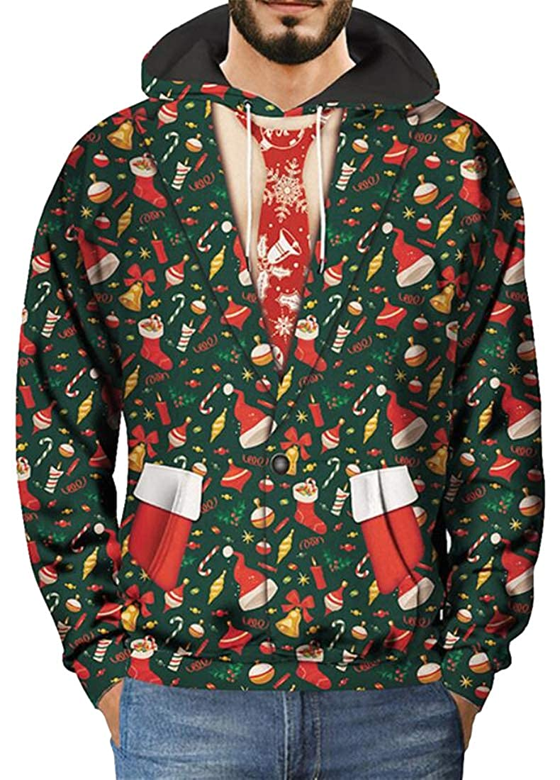 ARTFFEL Mens Floral Fake Two Pieces Drawstring Christmas Loose Fit Pullover Hooded Sweatshirt