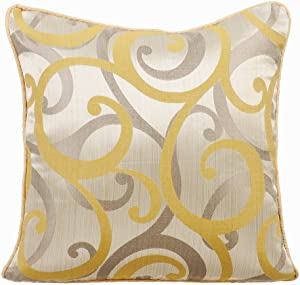 The HomeCentric Pillow Covers for Couch, Decorative Pillow Covers 20x20 inch (50x50 cm) Yellow, Silk Throw Pillow Covers, Handmade Pillow Covers - Scrolling All The Way
