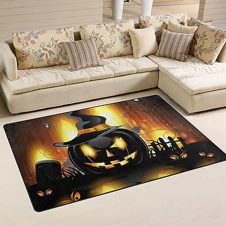 Amazon.com: lorvies Halloween calabaza área alfombra ...